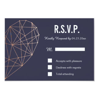 RSVP card | Response | Wedding Geometric Rose Gold