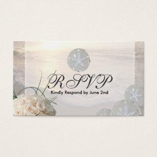 RSVP Card Sand Dollar & White Roses