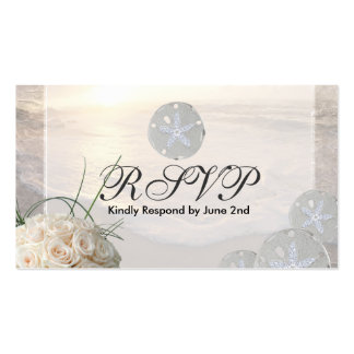 RSVP Card Sand Dollar & White Roses Business Cards