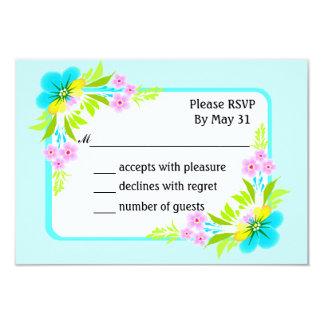 RSVP Cards Floral Frame Flowers On Light Sky Blue Personalized Invitation
