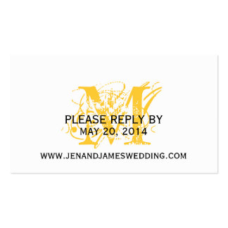 RSVP Cards for Wedding Website with Chic Monogram Pack Of Standard Business Cards