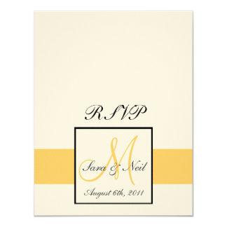 RSVP Cards Monogram Sunflower Yellow