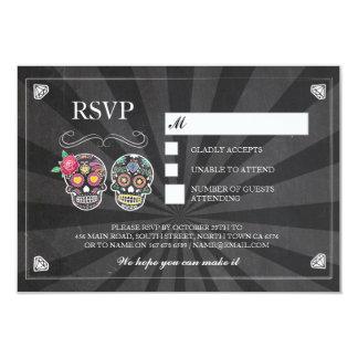 RSVP Chalk Wedding Rustic Sugar Skull Rose Cards
