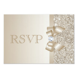 RSVP Champagne Sequins, Bow & Diamond RSVP 9 Cm X 13 Cm Invitation Card