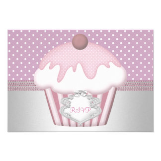 RSVP Cupcake White Pink Spots Birthday Custom Announcement