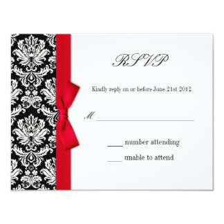 RSVP - Damask Red Bow Wedding Response Card 11 Cm X 14 Cm Invitation Card
