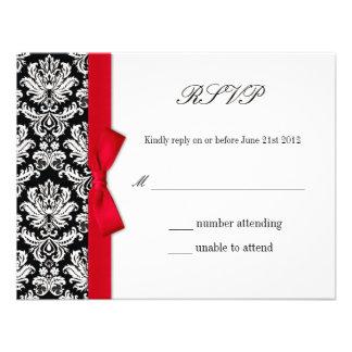 RSVP - Damask Red Bow Wedding Response Card Custom Invites