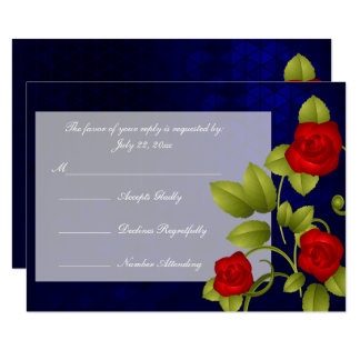 RSVP Dark Blue and Red Rose Wedding Card