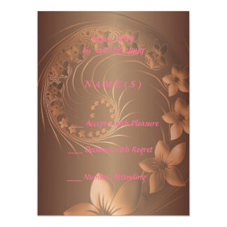 RSVP - Dark Brown Abstract Flowers 17 Cm X 22 Cm Invitation Card