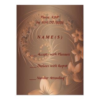 RSVP - Dark Brown Abstract Flowers 17 Cm X 22 Cm Invitation Card