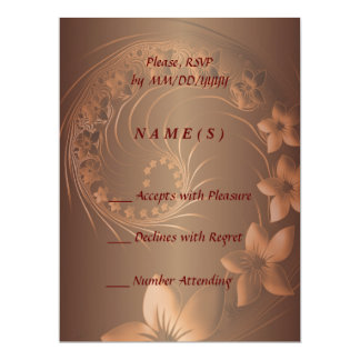 "RSVP - Dark Brown Abstract Flowers 6.5"" X 8.75"" Invitation Card"