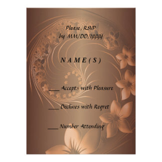 RSVP - Dark Brown Abstract Flowers Personalized Invite
