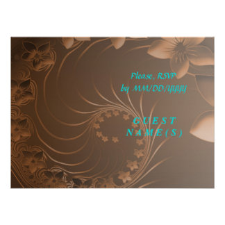RSVP - Dark Brown Abstract Flowers Personalized Invitation