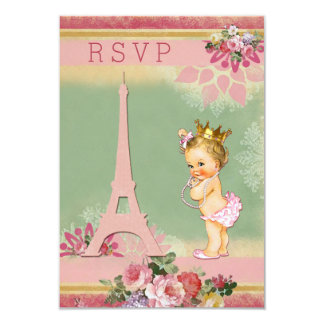 RSVP Eiffel Tower Princess Baby Shower 9 Cm X 13 Cm Invitation Card