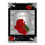 RSVP Elegant 50th Birthday Party Red Rose Silver Custom Invites
