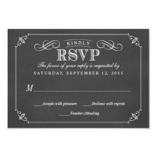 RSVP Elegant Rustic Vintage Chalkboard Wedding 3.5x5 Paper Invitation Card