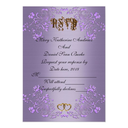 RSVP elegant Violet  satin wedding Card