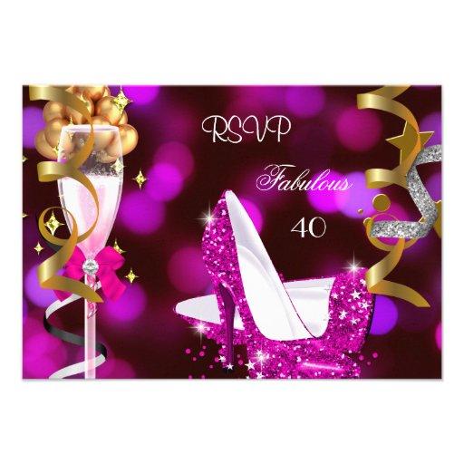 RSVP Fabulous 40 Hot Pink Gold Bubbles Invitations
