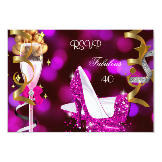 RSVP Fabulous 40 Hot Pink Gold Bubbles 3.5x5 Paper Invitation Card