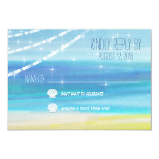 RSVP for a Beach Wedding with Lights Card