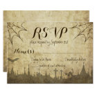 RSVP for a Halloween Wedding with web and cemetery Card