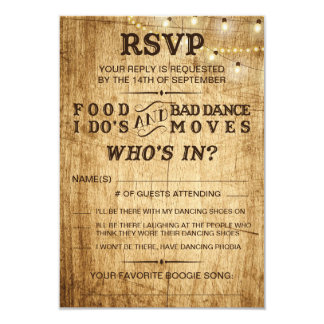 RSVP for wedding Food, I Do's and Bad Dance Moves Card