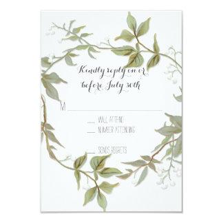 RSVP Garden Foliage Laurel Wreath Rustic Wedding Card