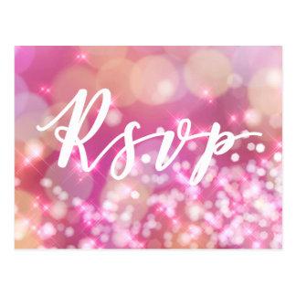 RSVP   Glamorous Pink Sparkles Postcard