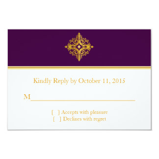 RSVP gold and purple Indian style Card 9 Cm X 13 Cm Invitation Card