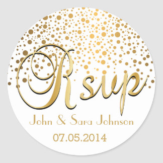RSVP | Gold Dots | Personalize Round Sticker