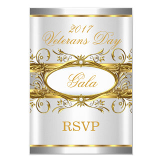 RSVP Gold Silver White and Gold Plaque Party Card