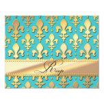 RSVP Gold Wedding Anniversary, Fleur de Lis 11 Cm X 14 Cm Invitation Card