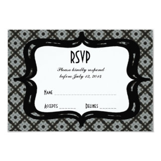 RSVP Grey Black Criss Cross 9 Cm X 13 Cm Invitation Card
