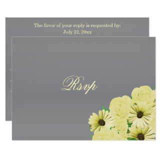 RSVP Grey Wedding Satin and Pastel Yellow Card