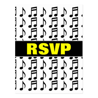 """RSVP"" + Grid of Musical Notes Postcard"