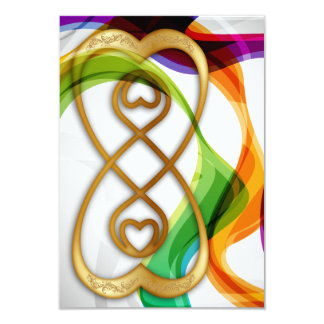 RSVP Hearts Double Infinity & Rainbow Ribbons - 3 9 Cm X 13 Cm Invitation Card
