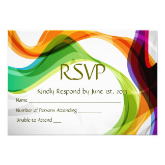 RSVP Hearts Double Infinity Rainbow Ribbons - 3 Invites
