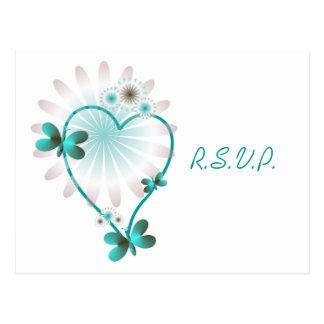 RSVP Insert Postcard Mint Butterfly Heart