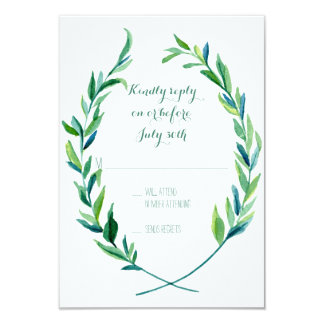 RSVP Laurel Wreath Olive Leaf Branch Modern Simple 9 Cm X 13 Cm Invitation Card