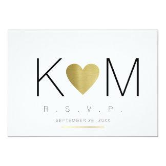 rsvp love & couple initials, clear & elegant card
