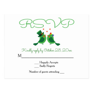 RSVP Lovebird Green & White Wedding Party Card