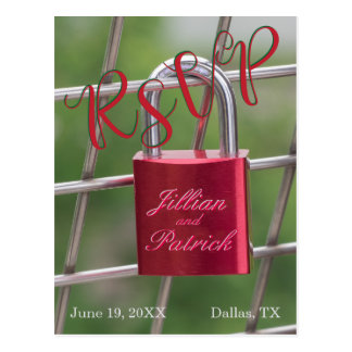 RSVP Lovers Padlock Specialized Red Postcard