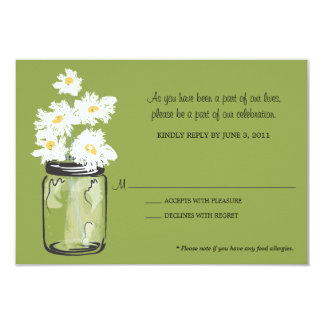 "RSVP - Mason Jar filled with White Daisies 3.5"" X 5"" Invitation Card"