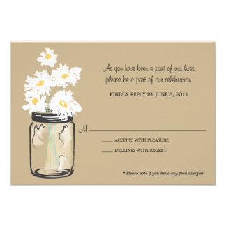 RSVP - Mason Jar filled with White Daisies Invitation