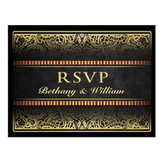 RSVP Matching Black Gold King Queen Hearts Vegas Postcard