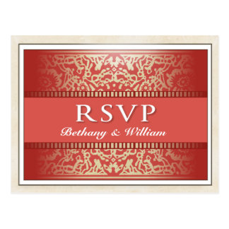 RSVP Matching PostCard King Queen Hearts Vegas