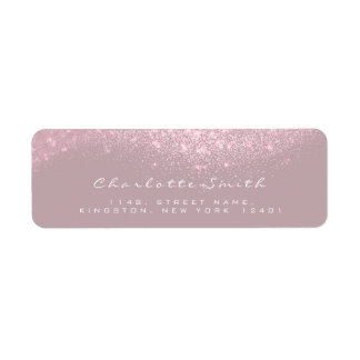 RSVP Mauve Gray White Glitter Bridal Makeup Return Address Label