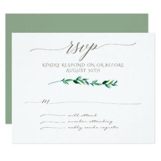 RSVP Minimalist Modern Leaf Leaves Art Typography Card