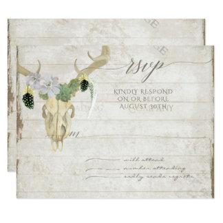 RSVP Minimalist Western Cactus Deer Skull Antlers Card