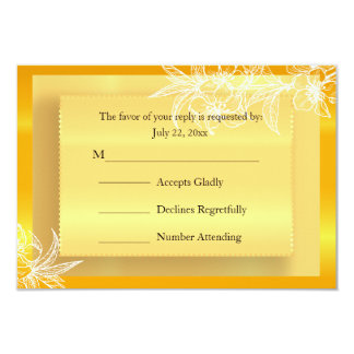 RSVP Modern Marigold Yellow & White Floral Stamp 9 Cm X 13 Cm Invitation Card